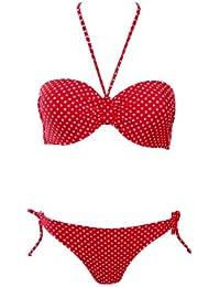 Winkee 10002 Bandeau Bikini mit weissen Punkten