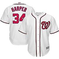 YQSB Camiseta Deportiva Baseball Jersey # 34 Harper Washington Nationals Ropa de béisbol Bordada,White,Men-M