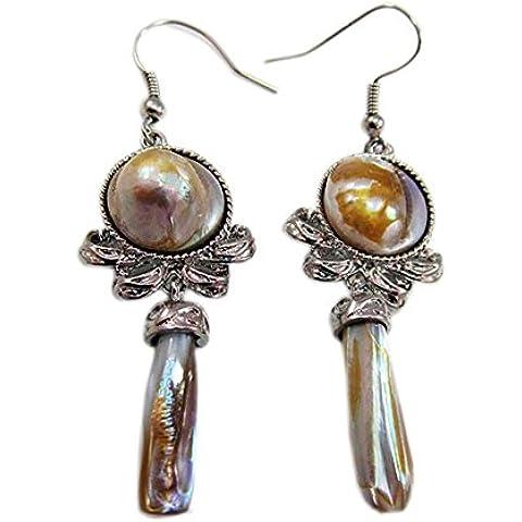 Orecchini moda per le donne 925 orecchini d'argento ciondola l'orecchino con perla Viva - Black Pearl Ciondola Gli Orecchini