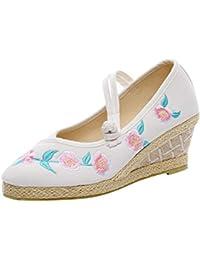 Yudesun Alpargatas Correa de Tobillo Zapatos Mujeres - Damas Chino Estilo Plataforma Bordado Cuñas Zapatos Tacón