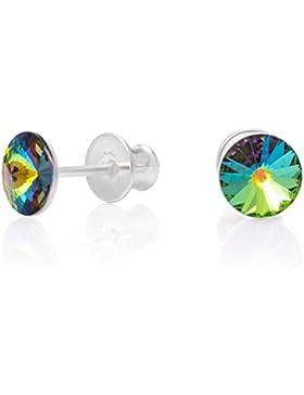 LillyMarie Damen Silber Ohrstecker echt Silber mehrfarbig original Swarovski Elements Rund Satin-Beutel, Geschenke...