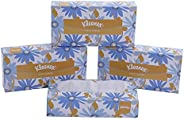 KLEENEX® Facial Tissue Box 60036-2 ply Flat Box Facial Tissue - 4 Tissue Boxes x 100 Face Tissues - Sheet Size