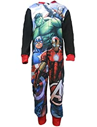 Boys Marvel Avengers Fleece Onesie featuring Iron Man, Hulk, Captain America, Thor Size 3 Years through to 8 Years Super Heroes
