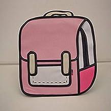 TAOHOU Bolso estéreo 2D Comic Bag 3D Mochila Tide Girl Bag Pink