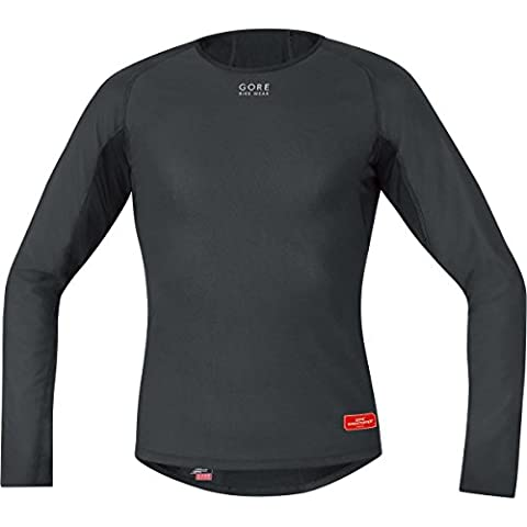 Gore Bike Wear Base Layer Windstopper Termo - Camiseta de ciclismo para hombre, color negro, talla