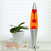 Lavalampe Jenny in orange rot / Lavaleuchte 42cm hoch / Gestell in silber / Kabelschalter / Leuchtmittel inklusive / Vulkanlampe für Innen Wohnzimmer Schlafzimmer