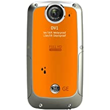 GE DV1 Pocket Digital Camcorder - Citrus Orange (Full HD 1080p Video, 4x Zoom) 2.5-inch LCD, Waterproof, Shockproof