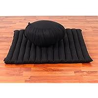 Leewadee Set de Meditación Cojín Zafu, Colchoneta Zabuton, 76x72x25 cm, Capok, Negro