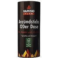 Kamino-Flam Anzündsticks - 120 Anzünder in handlichen Dose - Feuersticks brennen 5-6 Minuten - Anzündscheit für Grill / Kamin / Ofen - Anzündbrikettsticks geruchlos & ökologisch - Kaminanzünder