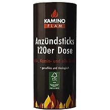 Kamino - Flam Bastoncini accendifuoco in legno e cera per barbecue, stufe, camini, 120 pezzi