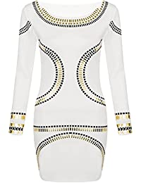 Robe Femme Mini Feuille Or Style Kim Kardashian Moulant Mi Long - 40 42 M/L, crème