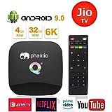 PHANTIO Q+ Android 9.0 Smart TV Box : Jio TV Hotstar 4GB RAM 32GB ROM WiFi 2.4GHz Quad-core cortex-A53 HDMI 2.0 Support 6K 3D/H.265 Netflix Airtel TV and More