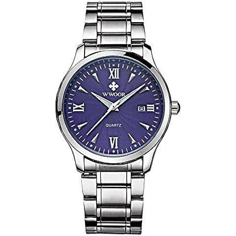 pkaty Uomo Casual Classic Luminous Analogico Al quarzo cinturino in acciaio inox semplice orologio da polso argento