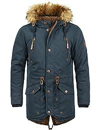 SOLID Vidage Herren Parka lange Winterjacke mit Kapuze und Fellkragen aus hochwertiger Baumwollmischung