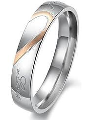 KONOV Joyería Anillo de Hombre Mujer, Compromiso, Alianzas de boda, Regalos san valentin, Amor, Corazón, Acero inoxidable, Color oro negro plata (con bolsa de regalo)