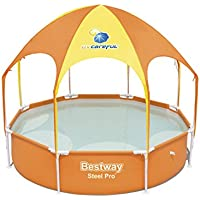 """Bestway Frame Pool""""Splash-in-Shade"""" mit Sonnendach + Sprinkler 244 x 51cm"""