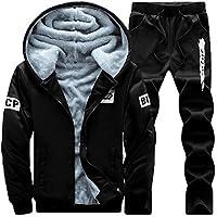 Suncaya Uomo Inverno Addensare caldo Con Zip Tute Jogging Sportiva Felpa  Con Cappuccio E Pantaloni 90139c07cfd