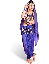 SymbolLife Lady Vestido danza del vientre india en muselina de seda y parte superior con relleno en el pecho + pantalón corto + cinturón + gran velo con campanas y monedas colgantes