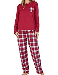 Slenderella Ladies Luxury Plain   Check Print 100% Soft Flannel Cotton 3  Button Long Sleeve   Trouser Pyjamas… 221374730