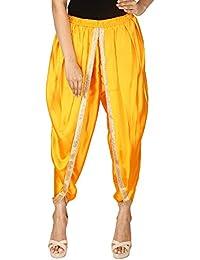 Khazana Basics Women's Golden Yellow Satin Silk Dhoti Pant
