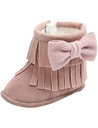 Felicy Bébé Filles Princesse Chaussures Enfant Premiers Gardez au Chaud Les  Glands Bowknot à Deux étages 2d41f12fd05a
