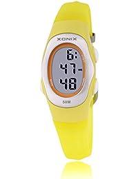 Reloj electrónico digital de múltiples funciones de los ni?os,Gelatina 50 m resina resistente al agua alarma cronómetro chicas o chicos peque?os simple moda retro reloj de pulsera-Q
