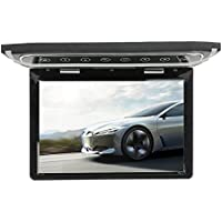 MiCarBa 10,1 pulgadas Flip Down Monitor 1080P HD TFT LCD Overhead Car TV Pantallas Ultra Thin Roof Mount Monitor HDMI SD Reproductor de MP3 MP4 con botón LED retroiluminado y luz ambiente ( negro)