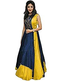 Women's Taffeta Silk Embroidered Semi-Stitched Indo-Western Gown (Indo_2020-All_Color)