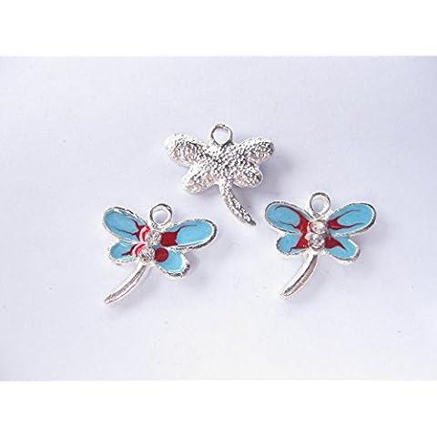 3hermoso esmalte de libélulas Charms/colgantes 20mm x 18mm. ch065
