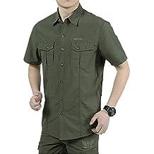"IKRR Camisas Secado rápido Manga Corta para Hombre (Verde #3, XL/Busto 113cm/44.5"")"