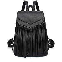 Simple mochila de moda femenina mochila borla - negro