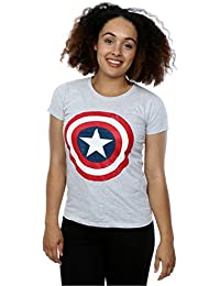 Marvel Women's Captain America Distressed Shield T-Shirt