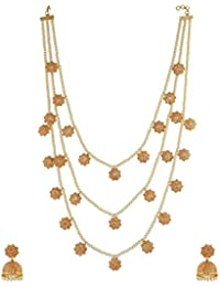 Anuradha Art Golden Finish Styled With Pearls Beads Classy Traditional Long Necklace Set For Women/Girls