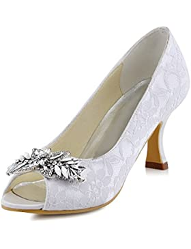 ElegantPark HP1538 Donna Tacco Medio Pompe Peep Toe Fogliame Clip Strasss Pizzo Scarpe Da Sposa