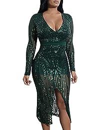 240d4ce52e60 ORANDESIGNE Donna Sexy Collo a V Paillettes Bodycon Mini Vestito Elegante  Manica Lunga Abiti Cerimonia Festa Cocktail Nozze Club Dress…