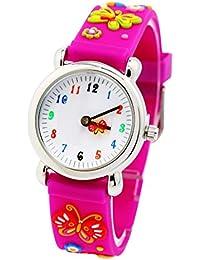 Montre Fille Pédagogique Enfant avec 3D Bracelet en Caoutchouc Motif Quartz Cadran Blanc - Rose rouge Papillon