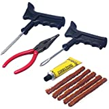 AllExtreme Wheel Tyre Repair Kit with Brown Emergency Puncture Seal Strips for Tubeless Tyres (With Pliers)