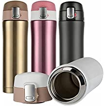 Hiwill Double Walled Vacuum Insulated Travel Coffee Mug, Stainless Steel Flask, Sports Water Bottle, 450ml (Pink)