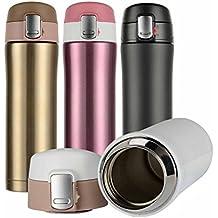 hiwill a doppia parete Isolamento a vuoto tazza da viaggio, thermos in acciaio inox, bottiglia, 0.5L, Golden