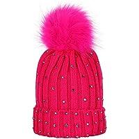 Happy Event Kinder Baby Strass halten warme Winter Pelz Ball Gestrickte Wolle Säumen Hut