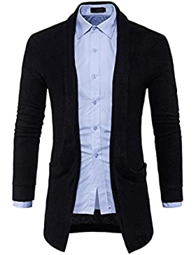 [Patrocinado]Ropa de abrigo para hombre, RETUROM Moda hombre nuevo suéter de punto sólido chaqueta larga Cardigan