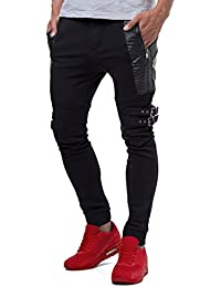 RedBridge Herren Jogginghose Sweatpants Kunsleder Steppmuster Zipper Schwarz M4029