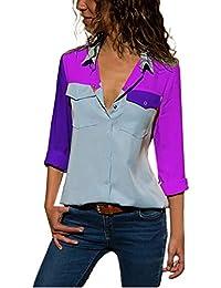 Camisa Larga Mujer Pacthwork, Manga Larga Casual Color Bloque Bolsillos botón Camisetas Tops Blusa…