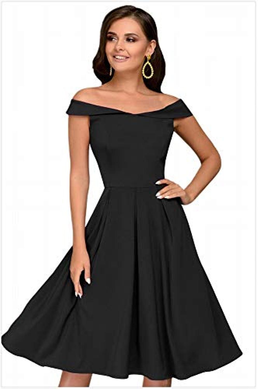 ... MTX-Girl cloth Mini Abito con Spalle Scoperte a Alta Maniche Corte a  Vita Alta 78ece6d0f05