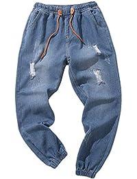 Uomo strappato sciolto jeans denim lavato casual vintage hip hop Men  Essential gamba larga pantaloni jeans 22a1b70c9203