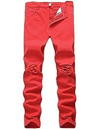 2bfd268ba535e Guiran Hombre Vaqueros Skinny Pantalones Recto Largos Slim Fit 577(Rojo    32)