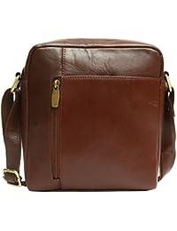 Genuine Leather Stylish Multipurpose Unisex Sling Bag (Brown)