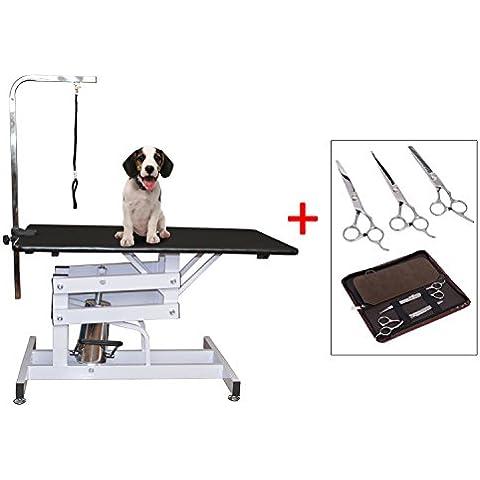 Mesa Plegable Aseo de Perro Mascota Cepillado + Set 3 Tijera Peluqueria Mascota (Modelo 3)