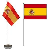 """Bandera de Mesa de España 9 """"x 6"""" - Bandera de Escritorio Español Contiene Asta de Bandera y Pedestal"""