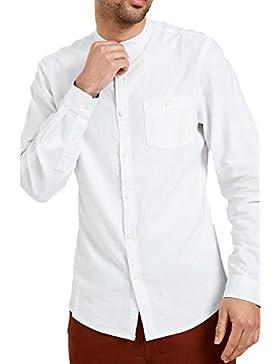 Uomo Camicia Di Lino Threadbare Nonno, Colletto Manica Lunga Lavoro Estivo Casual Nuovo